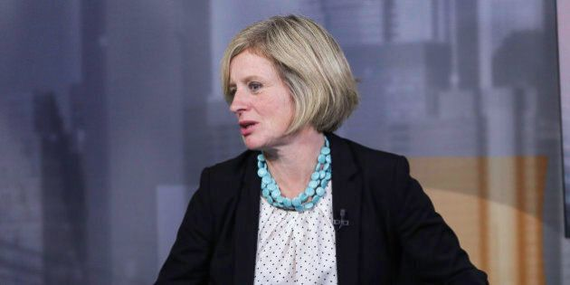 Rachel Notley, Alberta's premier, right, speaks during a Bloomberg Television interview in New York,...
