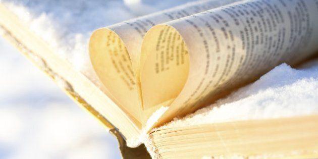books on winter background. under