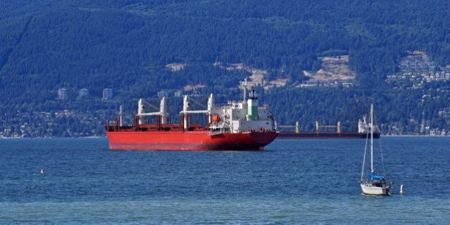 Cargo ships, Burrard Inlet, near Vancouver, British