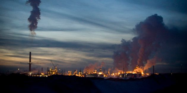 FORT MCMURRAY, ALBERTA, CANADA - NOVEMBER 2008: The oil sand industry never stops, continuing day and...