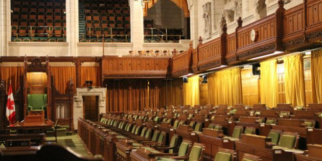 Interior of House of Commons of Canadian Parliament in Ottawa,
