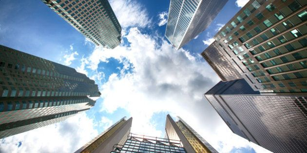 An image taken from below of skyscrapers of Toronto. Financial center of Toronto. Business center of...