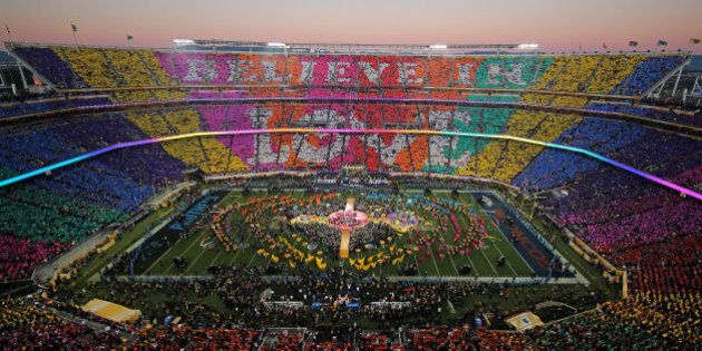 SANTA CLARA, CA - FEBRUARY 07: Coldplay, Beyonce and Bruno Mars perform during the Pepsi Super Bowl 50...