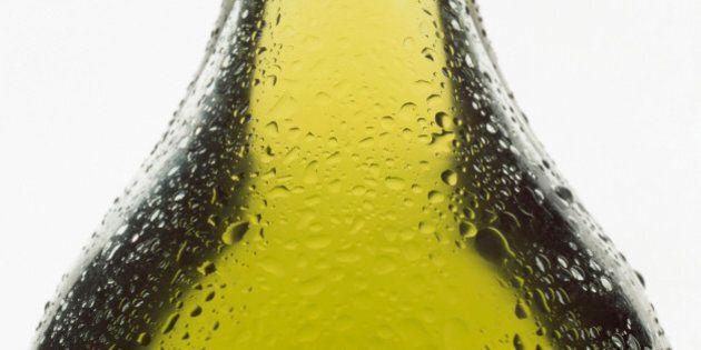 close-up of olive oil bottle