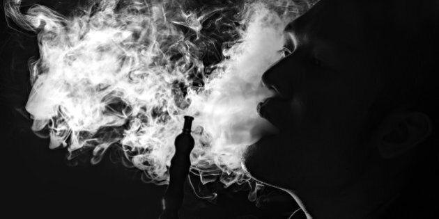 man inhale