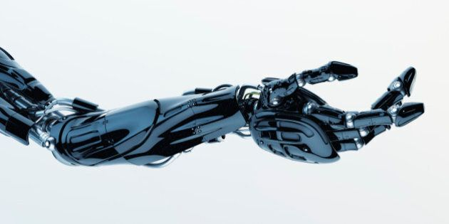 Future technology in black prosthetic hand on white. 3ds max render