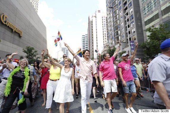 Prime Minister Justin Trudeau Marches In Toronto Pride