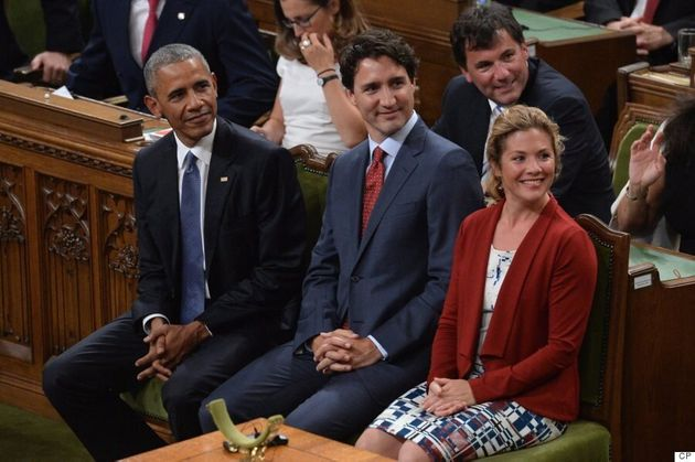 Sophie Grégoire Trudeau Wears Red, White And Blue Muriel Dombret Dress For Obama's Ottawa