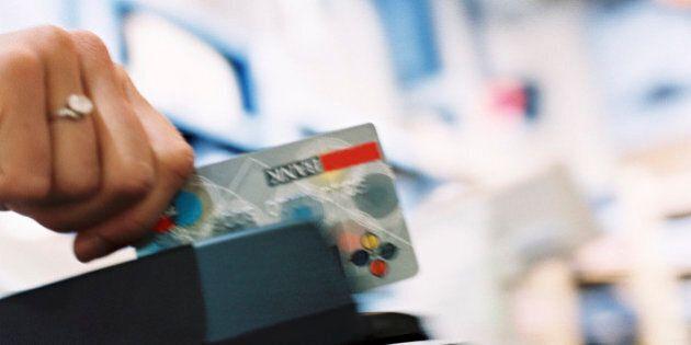 Hand swiping credit
