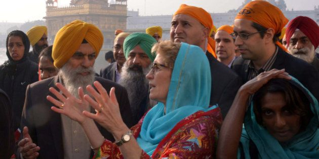 Canada's Premier of Ontario Kathleen Wynne visits the Golden temple in Amritsar on January 31, 2016....