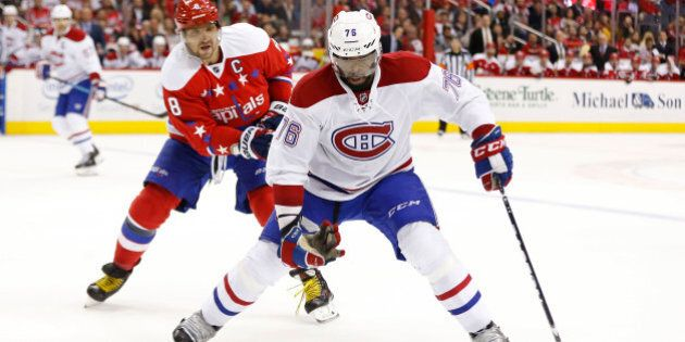 Feb 24, 2016; Washington, DC, USA; Montreal Canadiens defenseman P.K. Subban (76) skates with the puck as Washington Capitals left wing Alex Ovechkin (8) chases in the second period at Verizon Center. Mandatory Credit: Geoff Burke-USA TODAY Sports