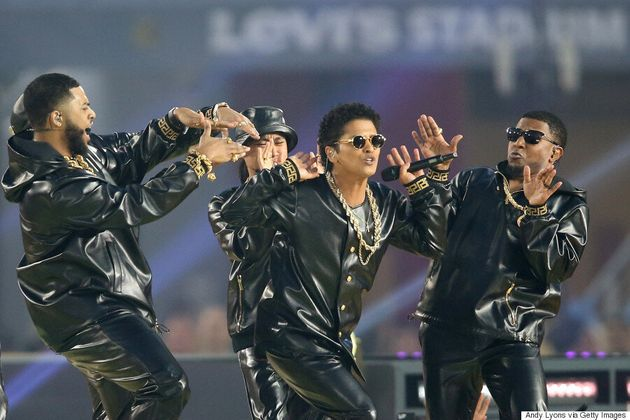 306c66b41ad50 Bruno Mars And His Super Bowl Squad Wear Versace To Dance Battle ...