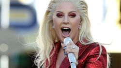 Lady Gaga Dazzles In Red At Super Bowl