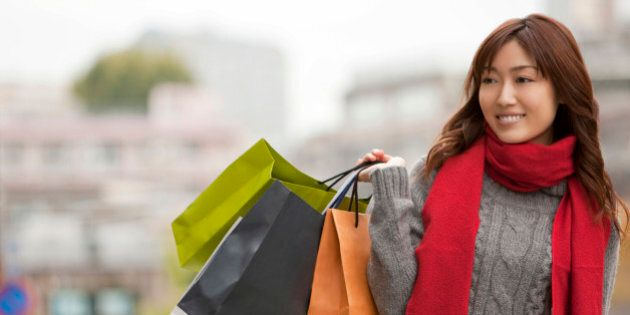 Young woman shopping on
