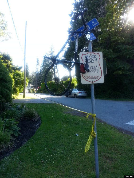 Crash Hurls Bike Atop Street Sign, West Vancouver Cyclist Survives