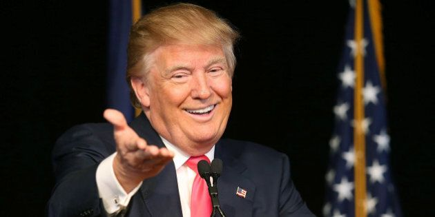 EXETER, NH - FEBRUARY 04: Republican presidential candidate Donald Trump speaks during a campaign rally at the Exeter Town Hall on February 4, 2016 in Exeter, New Hampshire. Democratic and Republican Presidential candidates are stumping for votes throughout New Hampshire leading up to the Presidential Primary on February 9th. (Photo by Joe Raedle/Getty Images)
