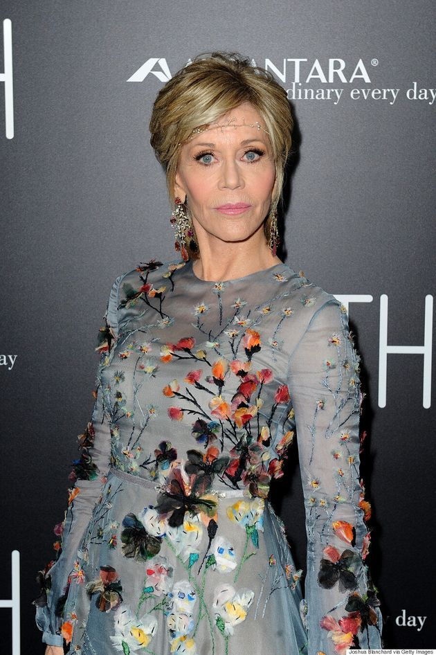 Jane Fonda Looks Incredible In Valentino And Delicate Headband On 'Youth' Red
