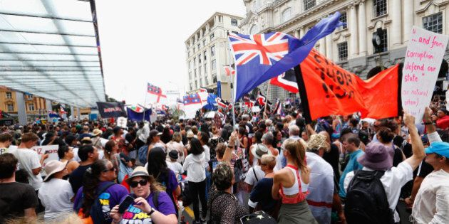 AUCKLAND, NEW ZEALAND - FEBRUARY 04: An anti TPP protest hikoi makes its way down Queen Street on February...