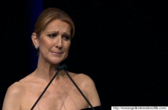 Celine Dion Tears Up At Rene Angelil