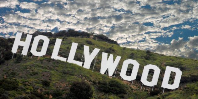 the famous hollywood sign high...