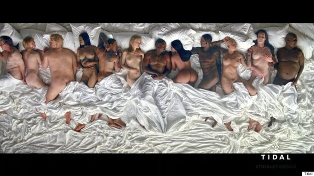 Kanye West's 'Famous' Music Video Features Naked Celebs In Bed Together