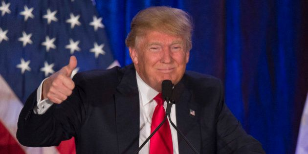 TOPSHOT - Republican presidential candidate Donald Trump speaks after finishing second in the Iowa Caucus,...