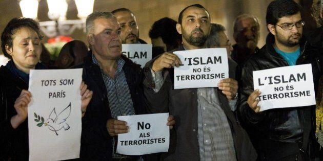 BARCELONA, SPAIN - NOVEMBER 16: Muslims from Barcelona gather to condemn Friday terror attacks in Paris...
