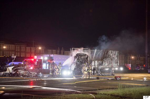 Highway 400 Crash: Fire Guts Truck Trailers, Vehicles In Fatal North Toronto