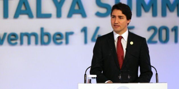 ANTALYA, TURKEY - NOVEMBER 15 : Prime Minister of Canada Justin Trudeau (C) gives a speech during the...