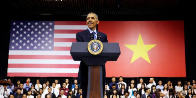 U.S. President Barack Obama attends a town hall meeting with members of the Young Southeast Asian Leaders...