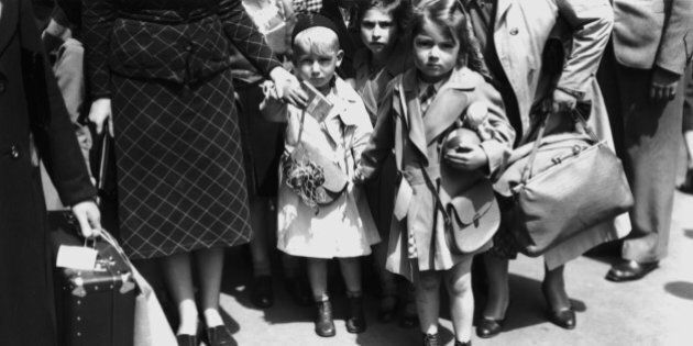 Jewish refugee children from Germany and Austria arrive at Liverpool Street Station in London at the...