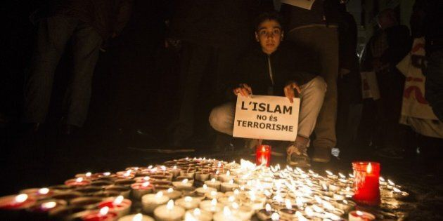 BARCELONA, SPAIN - NOVEMBER 16: Muslims from Barcelona gather to condemn Friday terror attacks in Paris...