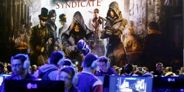 PARIS, FRANCE - OCTOBER 28: A poster of the video game 'Assassin's Creed Syndicate' is displayed at...