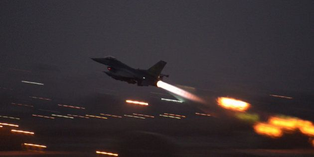 In this image provided by the U.S. Air Force, an F-16 Fighting Falcon takes off from Incirlik Air Base,...