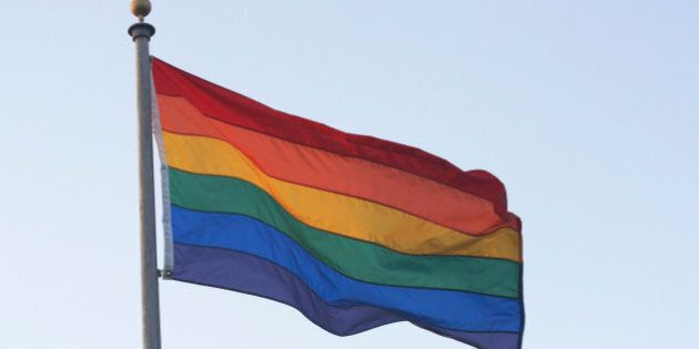 Rainbow flag blowing in