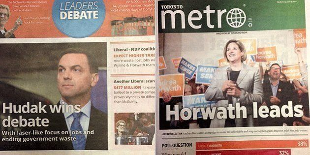 Ontario PCs, NDP Buy Front Page Newspaper Ads For Morning After