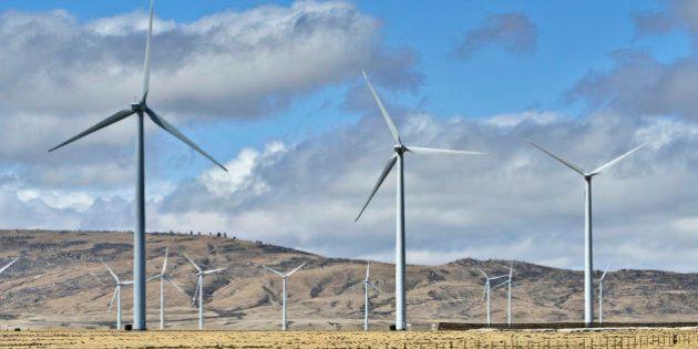Wind Turbines on a Wind farm produce clean energy. Taken in Wyoming.