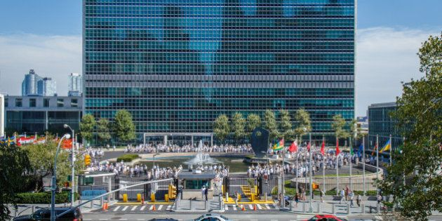 To mark the 70th birthday of the United Nations, UN staff form 'What R U Doing for Peace' at United Nations...