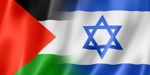 Mixed Palestine and Israel flag, three dimensional render,