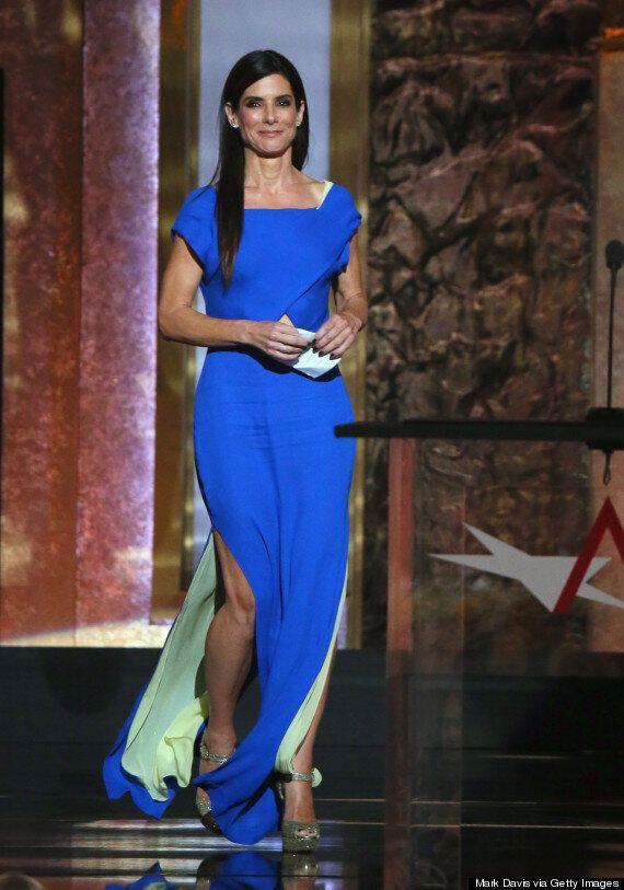 Sandra Bullock Looks Like Royalty In Cobalt-Blue Gown