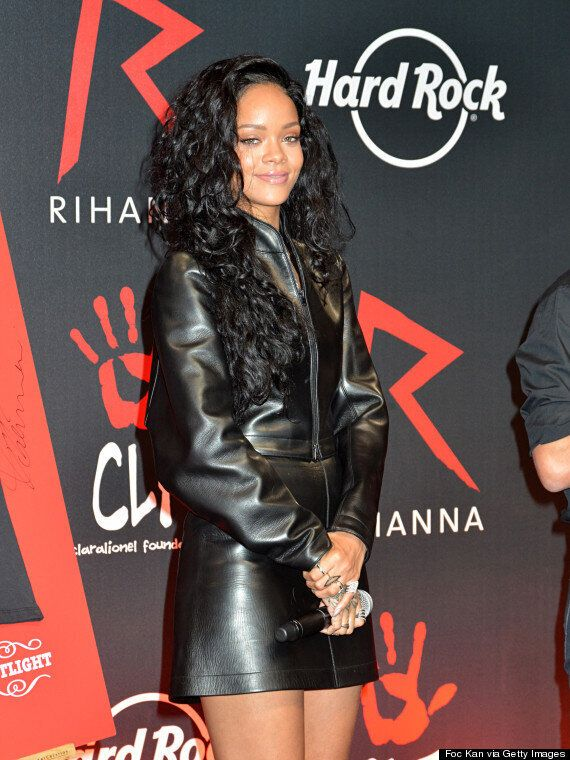 Rihanna Covers Up In Leather For Charity Event