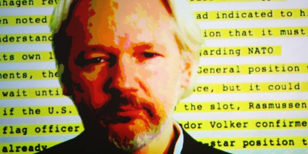 AUCKLAND, NEW ZEALAND - SEPTEMBER 15: Julian Assange appears on screen to discuss the revelations about...