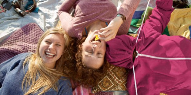Teenage girls having fun at the