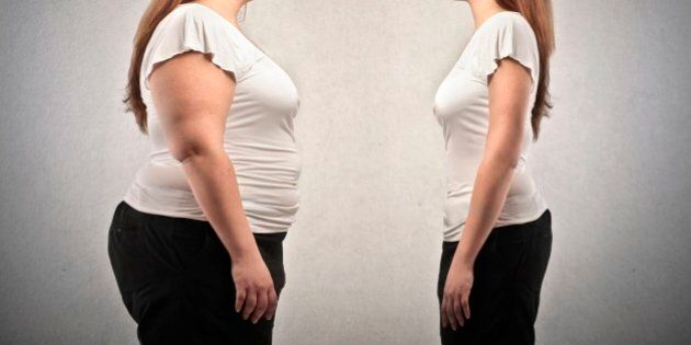 fat woman and woman lean in comparison on gray