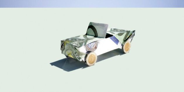 Origami car folded with 100 euro notes and