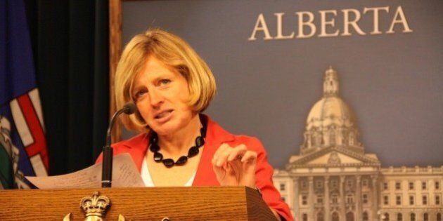 NDP MLA Rachel Notley at the podium in the Legislative Assembly of Alberta Media