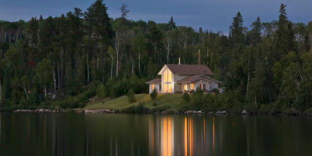 Cottage at night, Trout Lake, near Thunder Bay, Ontario