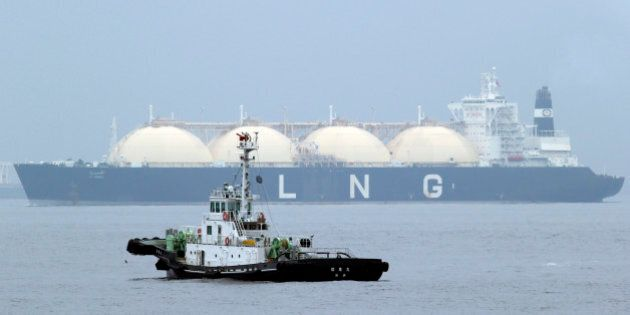 FILE - In this April 21, 2014 file photo, Liberian LNG, or Liquefied Natural Gas, tanker Al Hamra arrives...