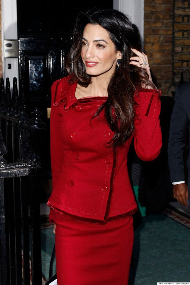 Amal Clooney Nails Business Chic In Red Skirt