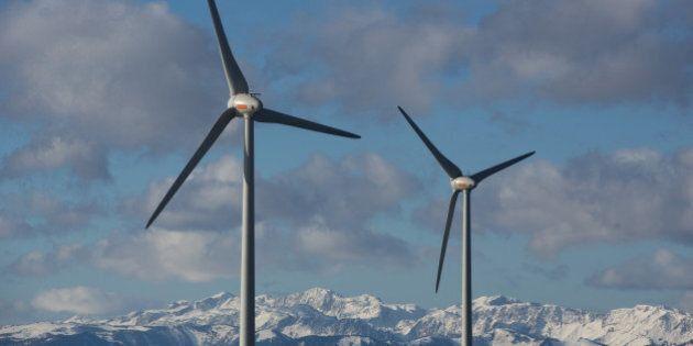 Wind turbines operate at the Steinriegel wind farm, operated by Wien Energie GmbH, in Steiermark, in...